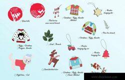 圣诞节主题手绘装饰元素设计素材 Christmas Decoration Elements