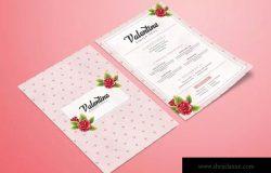 情人节主题餐厅菜单设计模板 Valentine Food Menu
