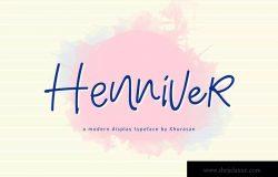 现代书法风格英文手写字体 Henniver