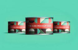 金属锡罐罐头包装设计正视图样机模板