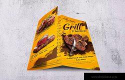 A4&美国信纸规格三折页BBQ烧烤店菜单设计模板 Barbecue Trifold A4 & US Letter Food Menu