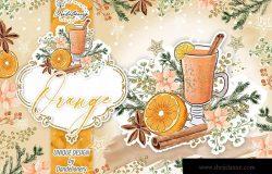 圣诞节主题橙色设计风格剪贴画高清PNG素材 Christmas Orange design