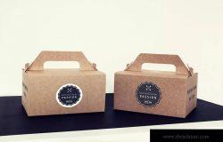 蛋糕外带盒包装&品牌Logo设计效果图样机模板