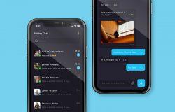 聊天消息App应用程序屏幕界面设计模板