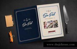 复古质朴海鲜餐厅食品菜单模板
