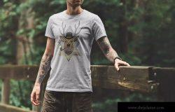 户外场景男士T恤设计效果图样机模板v2 T-Shirt Mockup Adventure Edition