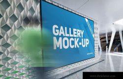 展厅画廊巨幅海报设计图样机模板