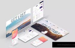 屏幕界面设计效果图等距网格样机模板 Isometric Device Screen Creator