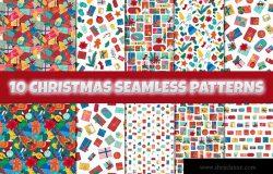 圣诞新年主题无缝图案纹理背景素材包 Christmas And New Year Seamless Patterns Set