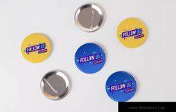 别针纽扣创意设计样机 Pin Buttons Mock Up