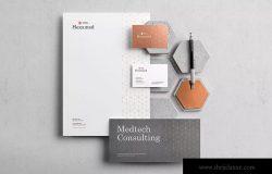六边形图形设计品牌VI视觉设计效果图样机套件v1 Hexamed Branding Mockup