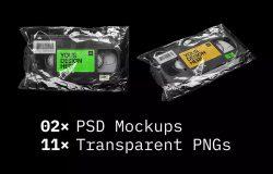 复古VHS录像带/磁带透明包装效果图样机模板
