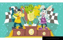 龟兔赛跑寓言故事卡通矢量手绘插画素材