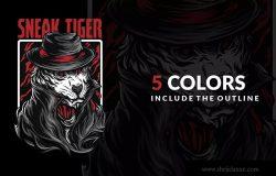 黑帮之虎潮牌T恤印花图案设计素材 Sneak Tiger