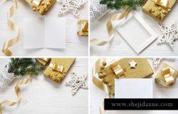 圣诞节主题场景样机背景素材 Christmas background mock ups with smart object