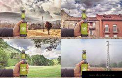 手持啤酒瓶外观印刷图案设计预览样机模板 Rustic Beer Mockup