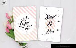 粉色情人节主题贺卡设计模板 Valentines Day Greeting Card Template
