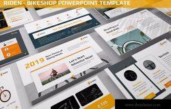 自行车品牌介绍PPT幻灯片模板 Riden – Bikeshop Powerpoint Template
