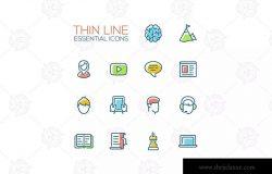 商业金融服务矢量细线图标合集 Business, Finance Symbols – thin line icons