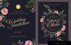 水彩手绘花卉婚礼婚宴邀请平面设计素材 Floral Hand-drawn Watercolor Wedding Invitation