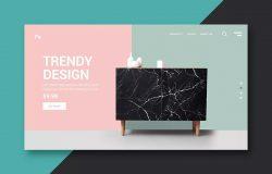 在线商店网站着陆页设计矢量模板
