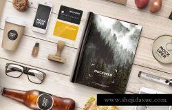 木制工艺品品牌等距场景样机 Brutal Wood Branding Mock-Up (PSD)