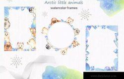 北极小动物水彩手绘剪贴画&卡片素材