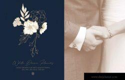 白色梦幻花卉手绘图案矢量素材