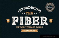 复古装饰风格英文无衬线设计字体下载 Fiber – Vintage Serif Font