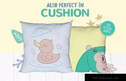 卡通动物手绘图案装饰儿童主题设计素材 Character Animal Decorative for Kids