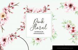 粉色樱花花卉水彩手绘设计套装 Pink Floral – Sakura Watercolor Set