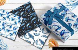 蓝色海洋哺乳动物水彩系列剪贴画