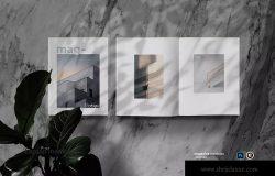 植物阴影大理石背景杂志版式设计预览样机模板 Magazine Mock Up