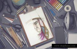 写生素描绘画作品展示样机 Sketchbook mock up set