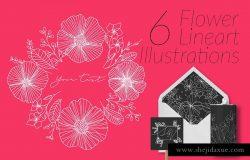 6个极简主义描线花卉插画 6 Flower Lineart Illustrations