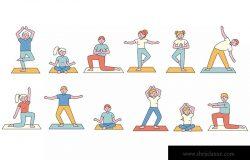 瑜伽训练人物形象线条艺术矢量插画素材 Yoga Lineart People Character Collection