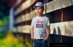 男童T恤胸前印花图案设计预览样机模板v1 Boy T-Shirt Mock-Up Set