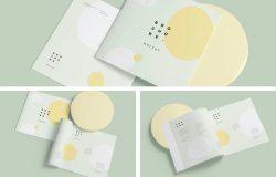 软封面方形小册子设计效果图样机
