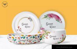 晚餐碗碟印花图案设计样机
