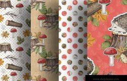 甜蜜森林主题数码纸张图案背景素材 Sweet Forest digital paper pack