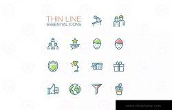 商业主题线条图标设计素材包 Business – Thin Single Line Icons Set