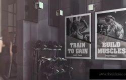 健身房广告海报设计效果图样机模板 Gym Advertising Mockup
