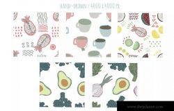 手绘食物图案食品包装图案矢量背景素材