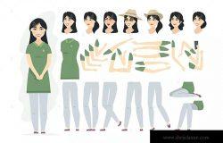 中国女人卡通人物形象矢量插画