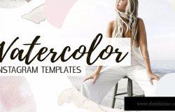 女性时尚水彩Instagram社交设计模板素材 Watercolor Instagram Templates