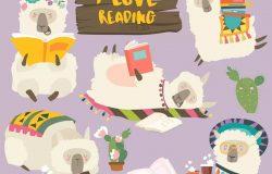 可爱的读书的骆驼羊驼卡通形象矢量插画