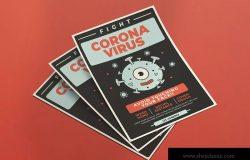 新型冠状病毒主题海报传单设计模板