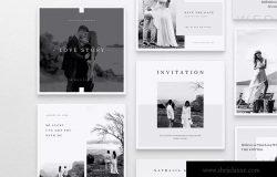 Instagram和Facebook社交平台电子婚礼邀请函/婚礼请柬设计模板 INVITE Wedding Instagram & Facebook Pos