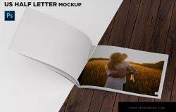 美国信纸规格宣传册内页版式设计翻页视图样机 US Half Letter Brochure Mockup Folded Page