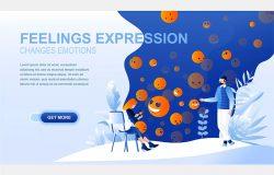 扁平设计风格社交媒体表情主题着陆页设计模板
